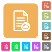 Cloud document flat icons on rounded square vivid color backgrounds. - Cloud document rounded square flat icons