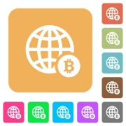 Online Bitcoin payment flat icons on rounded square vivid color backgrounds. - Online Bitcoin payment rounded square flat icons