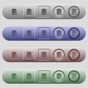Default database icons on rounded horizontal menu bars in different colors and button styles - Default database icons on horizontal menu bars