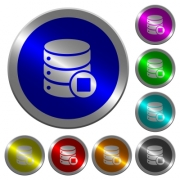 Database macro stop icons on round luminous coin-like color steel buttons - Database macro stop luminous coin-like round color buttons