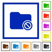 Disabled directory flat color icons in square frames on white background - Disabled directory flat framed icons