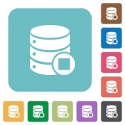 Database macro stop white flat icons on color rounded square backgrounds - Database macro stop rounded square flat icons