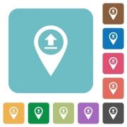 Upload GPS map location white flat icons on color rounded square backgrounds - Upload GPS map location rounded square flat icons