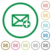 Add new mail flat color icons in round outlines on white background - Add new mail flat icons with outlines