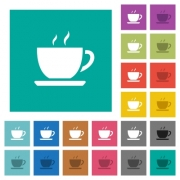 Cup of coffee multi colored flat icons on plain square backgrounds. Included white and darker icon variations for hover or active effects. - Cup of coffee square flat multi colored icons