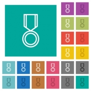 Medal multi colored flat icons on plain square backgrounds. Included white and darker icon variations for hover or active effects. - Medal square flat multi colored icons