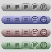 Favorite component icons on rounded horizontal menu bars in different colors and button styles - Favorite component icons on horizontal menu bars