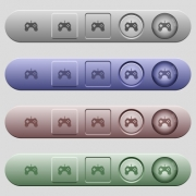 Game controller icons on rounded horizontal menu bars in different colors and button styles