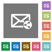 Share mail flat icons on simple color square backgrounds - Share mail square flat icons
