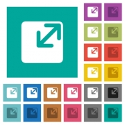 Resize window multi colored flat icons on plain square backgrounds. Included white and darker icon variations for hover or active effects. - Resize window square flat multi colored icons