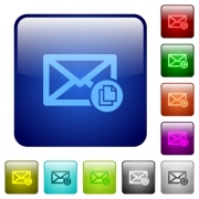 Copy mail icons in rounded square color glossy button set - Copy mail color square buttons
