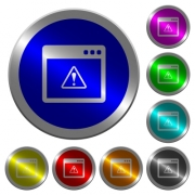 Application warning icons on round luminous coin-like color steel buttons