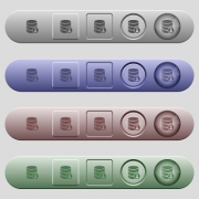 Database privileges icons on rounded horizontal menu bars in different colors and button styles - Database privileges icons on horizontal menu bars