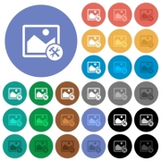 Image tools multi colored flat icons on round backgrounds. Included white, light and dark icon variations for hover and active status effects, and bonus shades on black backgounds. - Image tools round flat multi colored icons