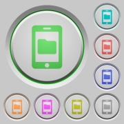Smartphone data storage color icons on sunk push buttons - Smartphone data storage push buttons
