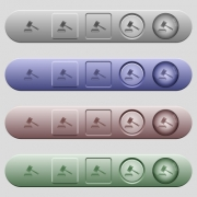 Auction hammer icons on rounded horizontal menu bars in different colors and button styles - Auction hammer icons on horizontal menu bars