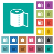 Paper towel multi colored flat icons on plain square backgrounds. Included white and darker icon variations for hover or active effects. - Paper towel square flat multi colored icons