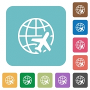World travel white flat icons on color rounded square backgrounds - World travel rounded square flat icons