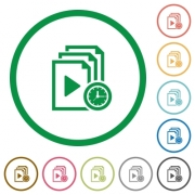 Playlist playing time flat color icons in round outlines on white background - Playlist playing time flat icons with outlines