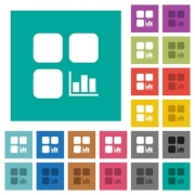 Component statistics multi colored flat icons on plain square backgrounds. Included white and darker icon variations for hover or active effects. - Component statistics square flat multi colored icons - Large thumbnail