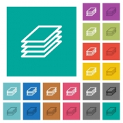 Printing papers multi colored flat icons on plain square backgrounds. Included white and darker icon variations for hover or active effects. - Printing papers square flat multi colored icons - Large thumbnail