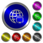 Remote terminal icons on round luminous coin-like color steel buttons - Remote terminal luminous coin-like round color buttons