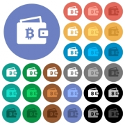 Bitcoin wallet multi colored flat icons on round backgrounds. Included white, light and dark icon variations for hover and active status effects, and bonus shades on black backgounds. - Bitcoin wallet round flat multi colored icons