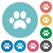Paw prints flat white icons on round color backgrounds - Paw prints flat round icons - Large thumbnail