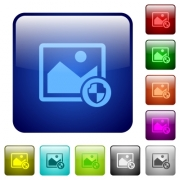 Protect image icons in rounded square color glossy button set - Protect image color square buttons - Large thumbnail