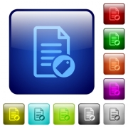 Tagging document icons in rounded square color glossy button set - Tagging document color square buttons