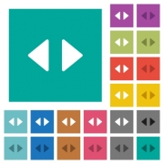 Horizontal control arrows multi colored flat icons on plain square backgrounds. Included white and darker icon variations for hover or active effects. - Horizontal control arrows square flat multi colored icons