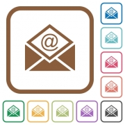 Open mail with email symbol simple icons in color rounded square frames on white background - Open mail with email symbol simple icons