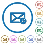Find mail flat color vector icons with shadows in round outlines on white background - Find mail icons with shadows and outlines
