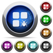 Component bug icons in round glossy buttons with steel frames - Component bug round glossy buttons