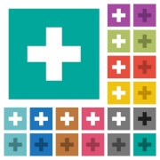 Add new item multi colored flat icons on plain square backgrounds. Included white and darker icon variations for hover or active effects. - Add new item square flat multi colored icons