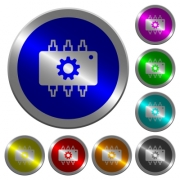 Hardware settings icons on round luminous coin-like color steel buttons - Hardware settings luminous coin-like round color buttons