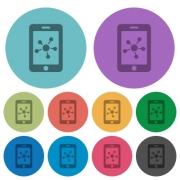 Mobile social network darker flat icons on color round background - Mobile social network color darker flat icons