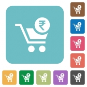 Checkout with Rupee cart white flat icons on color rounded square backgrounds - Checkout with Rupee cart rounded square flat icons