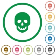 Human skull flat color icons in round outlines on white background - Human skull flat icons with outlines