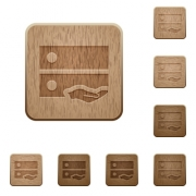 Shared drive on rounded square carved wooden button styles - Shared drive wooden buttons