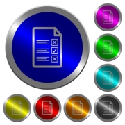 Questionnaire document icons on round luminous coin-like color steel buttons - Questionnaire document luminous coin-like round color buttons
