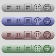Component disabled icons on rounded horizontal menu bars in different colors and button styles - Component disabled icons on horizontal menu bars