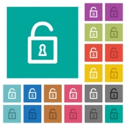 Unlocked padlock multi colored flat icons on plain square backgrounds. Included white and darker icon variations for hover or active effects. - Unlocked padlock square flat multi colored icons