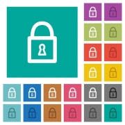 Locked padlock multi colored flat icons on plain square backgrounds. Included white and darker icon variations for hover or active effects. - Locked padlock square flat multi colored icons