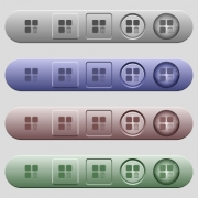 Delete component icons on rounded horizontal menu bars in different colors and button styles - Delete component icons on horizontal menu bars