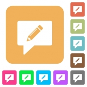 writing comment flat icons on rounded square vivid color backgrounds. - writing comment rounded square flat icons
