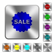 Sale badge engraved icons on rounded square glossy steel buttons - Sale badge rounded square steel buttons