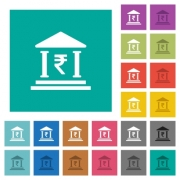 Indian Rupee bank office multi colored flat icons on plain square backgrounds. Included white and darker icon variations for hover or active effects. - Indian Rupee bank office square flat multi colored icons