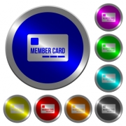 Member card icons on round luminous coin-like color steel buttons - Member card luminous coin-like round color buttons