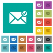 Mail sent multi colored flat icons on plain square backgrounds. Included white and darker icon variations for hover or active effects. - Mail sent square flat multi colored icons